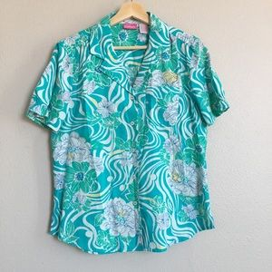 Turquoise Button Up/Down T-Shirt
